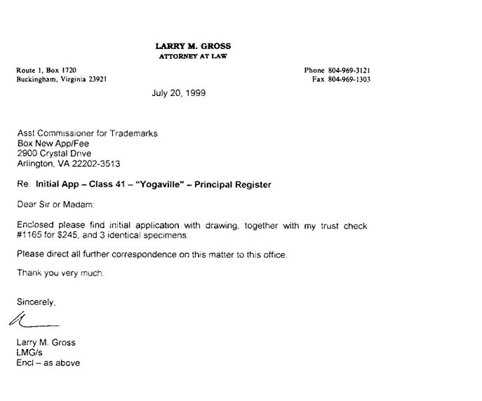 Larry Gross - Trademark Application